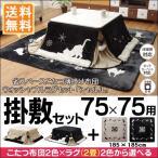 ネコ柄 省スペースこたつ薄掛け布団175×175cm(75×75cmこたつ用)+ウォッシャブルラグ 2畳(約185×185cm) 2点セット こたつ布団 黒猫 猫柄 シャルル 送料無料