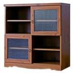 アンティーク調キャビネット 幅88cm 本棚 書棚 食器棚 レトロ調 収納ラック キッチンラック クロスガラス仕様