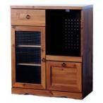 アンティーク調 キッチンボード 幅75cm 高さ90cm 食器棚 レトロ調レンジ台 キッチン棚 クロスガラス仕様