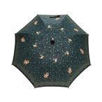 日傘 女優日傘 ショート日傘 完全遮光 遮熱 UVカット かわず張り 涼しい 晴雨兼用傘 特殊2重張り 花更紗 刺繍 (ブラック)