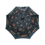 日傘 女優日傘 長日傘 完全遮光 遮熱 UVカット かわず張り 涼しい 晴雨兼用傘 特殊2重張り 和モダン 刺繍 (ブラック)