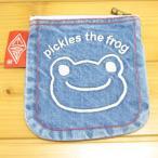 かえるのピクルス コットントートバッグシリーズ ピクルス 刺繍 ミニポーチ デニム フェイス カエルのピクルス 小物入れ コスメ 化粧 雑貨