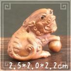 つげ 黄楊木 柘植 天然木 木彫り 根付け 128 獅子戯珠