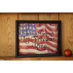 絶版一点限り!アントステラ ブラックフレーム 我が国アメリカ  Let Freedom Ring 自由の鐘  アメリカン カントリー インテリア 雑貨