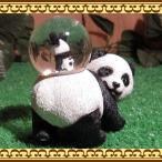 動物の置物 アニマルスノードーム パンダの親子