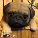 犬の置物 パグ リアルな犬の置物 ぶらさがりドッグ 子いぬのフィギア イヌのオブジェ ガーデニング 玄関先 陶器 ぱぐ