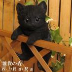 猫の置物 リアルな猫の置物 ぶらさがりベビーキャット 黒ねこ 子ねこのフィギア ネコのオブジェ ガーデニング 玄関先 陶器 クロネコ