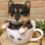 犬の置物 柴犬 黒柴 リアルな犬の置物 ティーカップドッグ Aタイプ 子いぬのフィギア イヌのオブジェ ガーデニング 玄関先 陶器