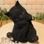 猫の置物 リアルな 黒猫の置物 シッポかじかじキャット ブラック クロネコのフィギア くろねこのオブジェ ガーデニング 玄関先 陶器