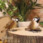 鳥の置物 リアルなスズメのぬいぐるみ すずめ 2羽セット 雀オブジェ インテリア 置物 トリ バード