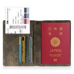 Fintie パスポートケース  スキミング防止 安全な海外旅行用 高級PUレザー (ダークグレー)