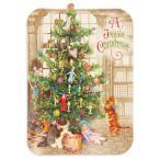 パンチスタジオ クリスマスカード 立体 Sサイズ(クリスマスツリーと猫) グリーティングカード