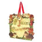 パンチスタジオ クリスマス ギフトバッグ Sサイズ (クリスマスリース×子猫たち) 紙袋 手提げ ダイカット