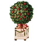 MICHEL & CO クリスマスカード ラージサイズ (ヒイラギ×トピアリー) 封筒付き レトロ グリーティングカード