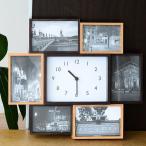 ショッピングフォトフレーム フォトフレーム ビット7 写真立て おしゃれ 時計 壁掛け 置き型 木製 掛け時計 置き時計