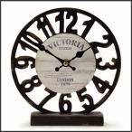 時計 置時計 アナログ アンティーク アメリカン雑貨 オールドルックロック テーブル スケルトン ブラック