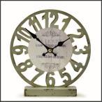 時計 置時計 アナログ アンティーク アメリカン雑貨 オールドルックロック テーブル スケルトン グリーン