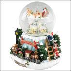 送料無料 クリスマス オルゴール オーナメント 電飾 飾り 照明 トゥインクル LEDラウンドスノードーム&オルゴール