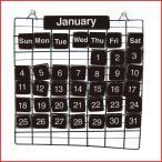 カレンダー 万年カレンダー 壁掛け ワイヤー 木 おしゃれ オブジェ アンティーク インテリア雑貨 プレゼント ギフト ブラック  PRIMITIVE CALENDAR S BLACK