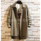 トレンチコート メンズ ロングシャツ 薄手 スプリングコート カジュアル ジャケット アウター コート 紳士 秋 冬 メンズファッショ