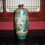 伝統工芸九谷焼花瓶 古九谷人物 糠川清章(はせがわせいしょう)作