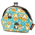 Petlovers HappyFabric 3.8寸 がま口 ポーチ  柴犬 Shiba Dog 空色 / GS-118B