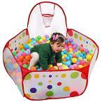 KUUQA 六角形 ボールプール バスケットボールリング付き 児童テント 子供オモチャ 最高なプレゼント120*60*37cm 混色 / KQ003