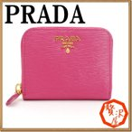 プラダ PRADA コインケース 財布 小銭入れ ラウンドファスナー ピンク レザー 1MM268-2EZZ-F0505