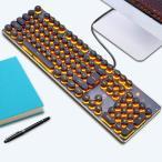 ゲーミングキーボード バックライト付きメカニカルキーボード 金属ベース ラウンドキーキャップ 104キー 有線キーボード パソコン/Macに