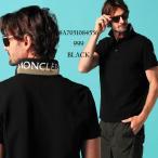 モンクレール メンズ ポロシャツ 半袖 MONCLER 襟裏 ロゴ プリント 鹿の子 黒 ブランド トップス コットン MC8A7051084556