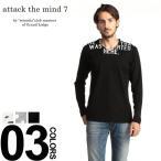 attack the mind 7 アタック ザ マインド セブン プリント Vネック Tシャツ 長袖 ブランド メンズ トップス ロンT A7ATM139CT01