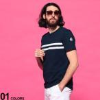 モンクレール メンズ 半袖 Tシャツ MONCLER ライン ロゴ エンボス クルーネック 紺 ブランド トップス コットン MC8C7B8108390T