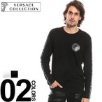 ヴェルサーチ コレクション VERSACE COLLECTION Tシャツ 長袖 袖ライン クルーネック メンズ ブランド トップス ロンT VCV800491RVJ549