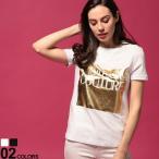 ヴェルサーチ ジーンズクチュール レディース Tシャツ VERSACE JEANS COUTURE ロゴ クルーネック 半袖 ブランド トップス ロゴT ゴールド VCLB2HVA7T2