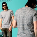 エンポリオ アルマーニ メンズ Tシャツ 半袖 EMPORIO ARMANI ロゴ バックプリント 総柄 クルーネック ストレッチ ブランド トップス EA1117640P566