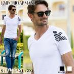 エンポリオアルマーニ メンズ EMPORIO ARMANI Tシャツ 半袖 イーグル ロゴ プリント ストレッチ ブランド トップス 黒 白 EA1117601P725