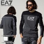 エンポリオアルマーニ メンズ EMPORIO ARMANI EA7 バイカラー ロゴ テープ クルーネック 長袖 Tシャツ ブランド トップス ロンT EA6KPT11PJ7CZ