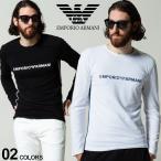 エンポリオアルマーニ メンズ EMPORIO ARMANI ロゴ プリント クルーネック 長袖 Tシャツ ロンT ブランド トップス EA1119591A520