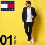 トミーヒルフィガー TOMMY HILFIGER スーツ リネン ストレッチ シングル 2ツ釦 ノータック メンズ TMASM0001