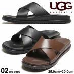 アグ オーストラリア メンズ UGG Australia レザー クロスストラップ サンダル WAINSCOTT SLIDE GRIZZLY BLACK ブランド レザーサンダル 本革 UGG1117476