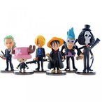 ワンピース  Anime Cartoon One Piece The straw hat Pirates Figure Luffy Zoro Sanji Chopper Franky Brook PVC Toys Action Figure Dolls 6pcs set by mitoy