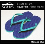 SOULS マッサージビーチサンダル:Monaco Blue 凸凹が気持ちいい 通気性抜群 23cm〜29cm