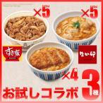 【50%OFFクーポン対象】お試しコラボ3種セットすき家牛丼の具5パック×なか卯親子丼の具5パック×カツ丼の具4食