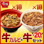 すき家 牛カルビ×牛 計20食セット 牛カルビ丼の具10パック×牛丼の具10パック 冷凍食品 送料無料