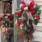 クリスマスリース クリスマス スワッグ 大きい オーナメント ナチュラル リース ドア 玄関 庭園 部屋 壁飾り ガーランド 松かさ 華やか おしゃれ 新年飾り 60cm