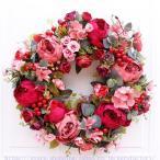 クリスマスリース クリスマス花輪 ドアリース ドア店舗 玄関 庭園 部屋 壁飾り ガーランド バラ 人工造花 飾り デラックスリース 北欧風 ピンク 40cm