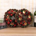 クリスマス花輪 クリスマスリース ドアリース ドア店舗 玄関 庭園 部屋 壁飾り ガーランド バラ 人工造花 飾り デラックスリース 北欧風 ピンク 27cm