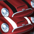 MINI(ミニ) R50/R52 ボンネットストライプ クーパーライン ブラック/ホワイト  「CLOS」クロス