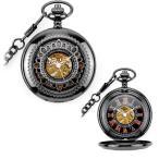 Watch - 懐中時計メタルブラック花の透かしレトロアンティーク調手巻き式ローズゴールド