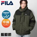 ダウンジャケット メンズ 中綿ジャケット ジャケット ブルゾン 中綿 防風 フード ロゴ刺繍 切替 FILA ファッション (fh7632)